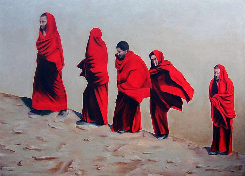 5 Mönche - Acryl ca. 100 x 140 cm