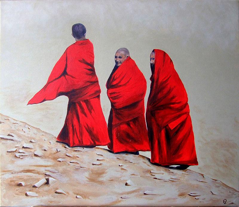Drei Mönche - Acryl ca. 60 x 70 cm