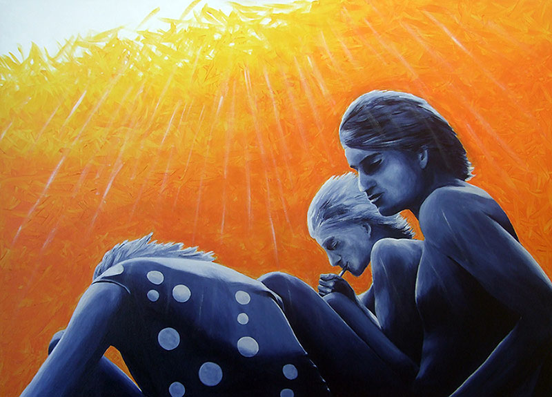 Drei am See - Acryl ca. 60 x 80 cm